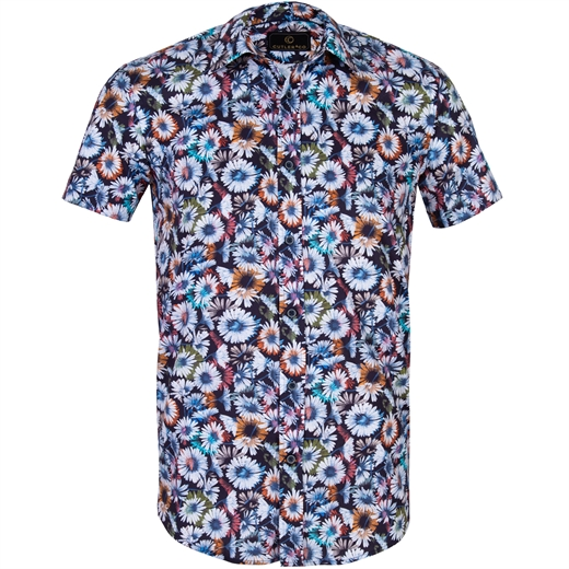 Brody Big Daisy Stretch Cotton Shirt-new online-Fifth Avenue Menswear