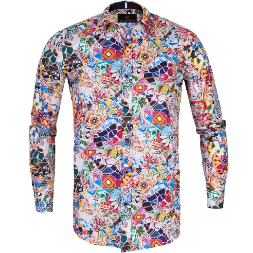 Blake Bright Collage Stretch Cotton Shirt-new online-Fifth Avenue Menswear