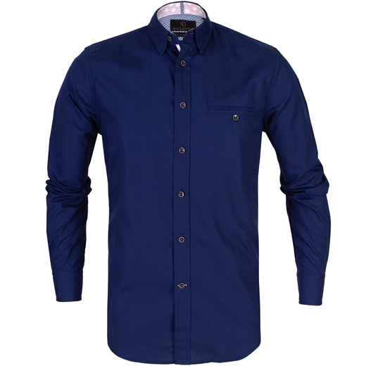 Colton Navy Pindot Casual Cotton Shirt-new online-Fifth Avenue Menswear