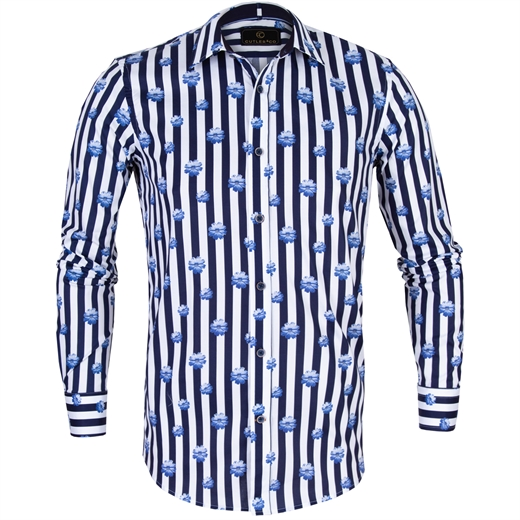 Blake Wide Stripe & Flowers Stretch Cotton Shirt-new online-Fifth Avenue Menswear