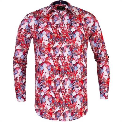 Blake Birds & Floral Stretch Cotton Shirt-new online-Fifth Avenue Menswear