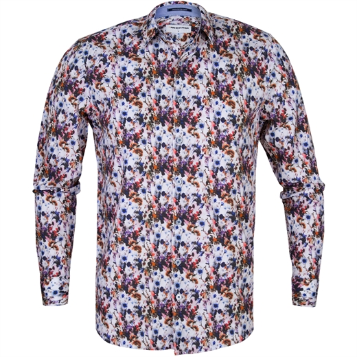Slim Fit Digital Floral Print Stretch Cotton Shirt-new online-Fifth Avenue Menswear