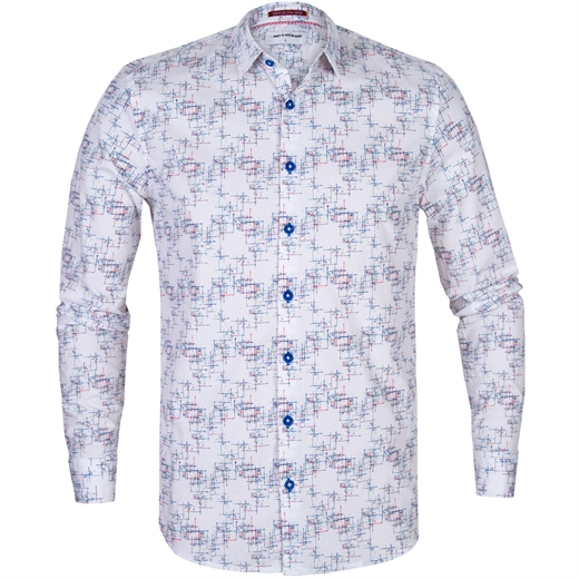 Slim Fit Lines Print Stretch Cotton Shirt-new online-Fifth Avenue Menswear