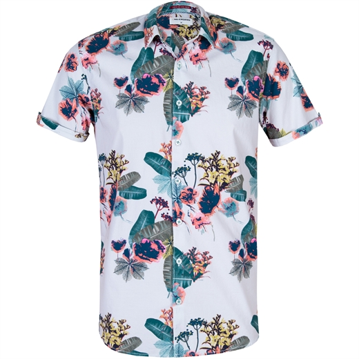 Slim Fit Floral Print Stretch Cotton Shirt-new online-Fifth Avenue Menswear