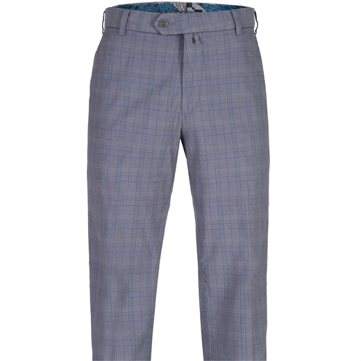 Bonn Luxury Stretch Cotton Check Trousers-new online-Fifth Avenue Menswear