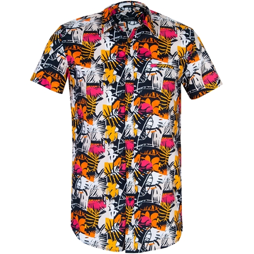 Slim Fit Abstract Leaves Print Stretch Cotton Shirt-new online-Fifth Avenue Menswear