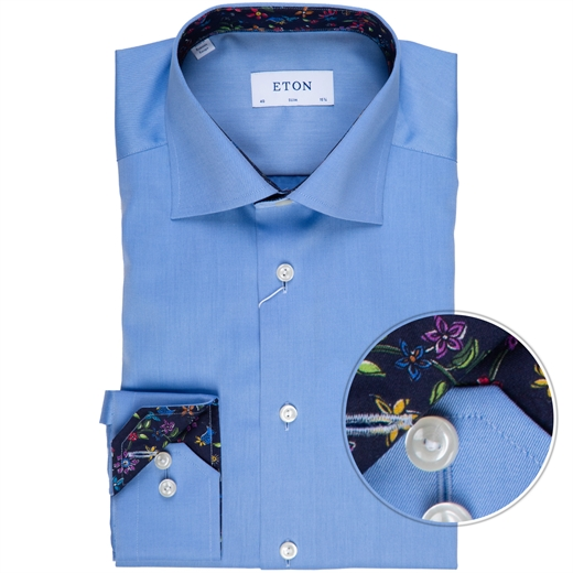 Slim Fit Luxury Twill Dress Shirt With Floral Trim-new online-Fifth Avenue Menswear
