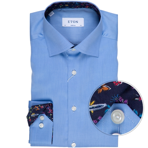 Super Slim Fit Luxury Twill Dress Shirt With Floral Trim-new online-Fifth Avenue Menswear