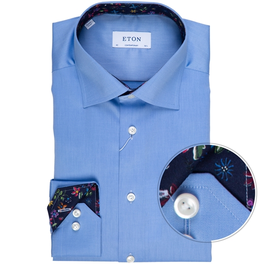 Contemporary Fit Luxury Twill Dress Shirt With Floral Trim-new online-Fifth Avenue Menswear