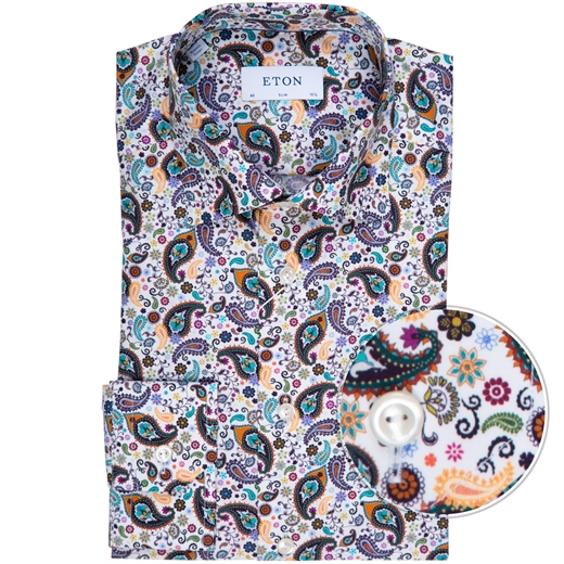 Slim Fit Luxury Cotton Paisley Print Dress Shirt-new online-Fifth Avenue Menswear
