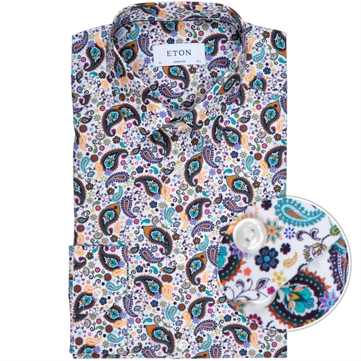 Super Slim Fit Luxury Cotton Paisley Print Dress Shirt-new online-Fifth Avenue Menswear