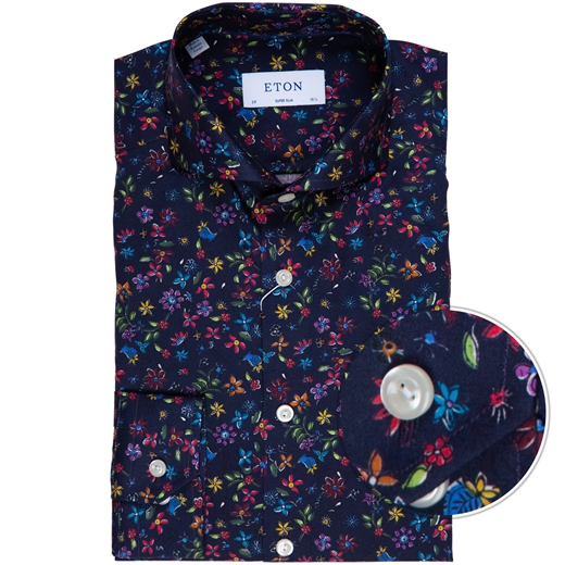 Super Slim Fit Luxury Floral Print Dress Shirt-new online-Fifth Avenue Menswear