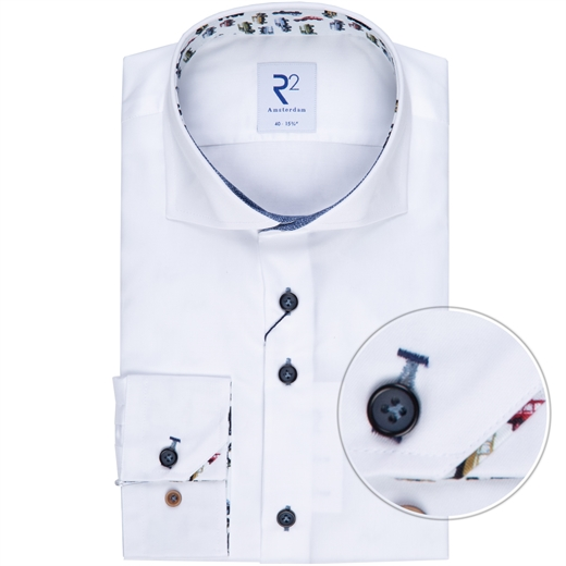 Luxury Cotton Twill Shirt With Cars Print Trim-new online-Fifth Avenue Menswear