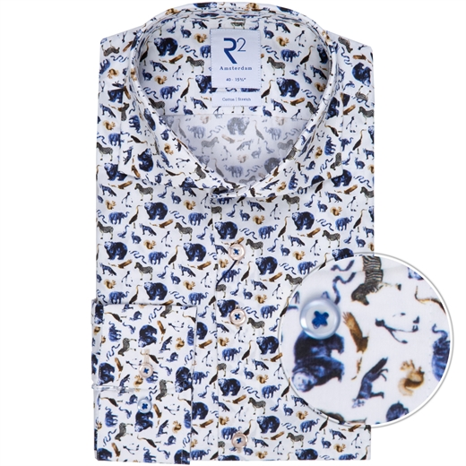 Luxury Cotton Animal Print Dress Shirt-new online-Fifth Avenue Menswear