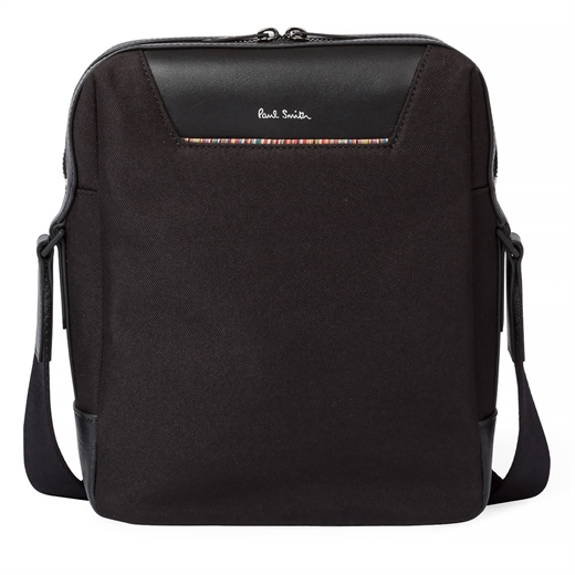 Black Canvas Travel Flight Bag With Signature Stripe Trim-new online-Fifth Avenue Menswear