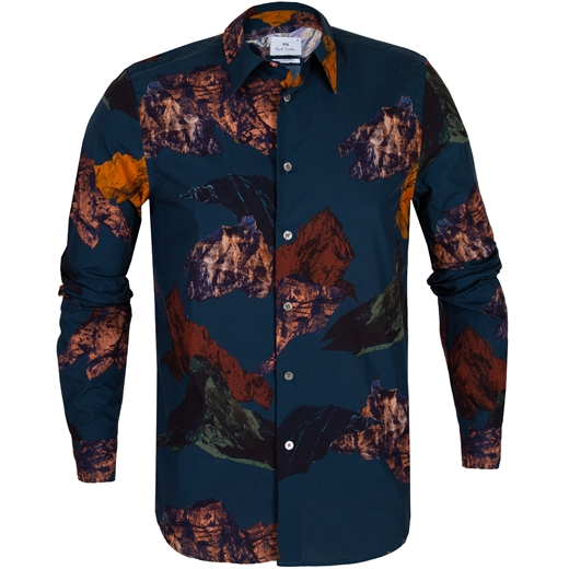 Tailored Fit Mountain Print Casual Shirt-new online-Fifth Avenue Menswear
