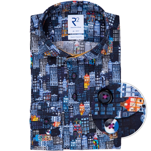 Luxury Cotton Buildings Print Shirt-new online-Fifth Avenue Menswear
