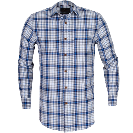 Ash Brushed Cotton Check Shirt-new online-Fifth Avenue Menswear