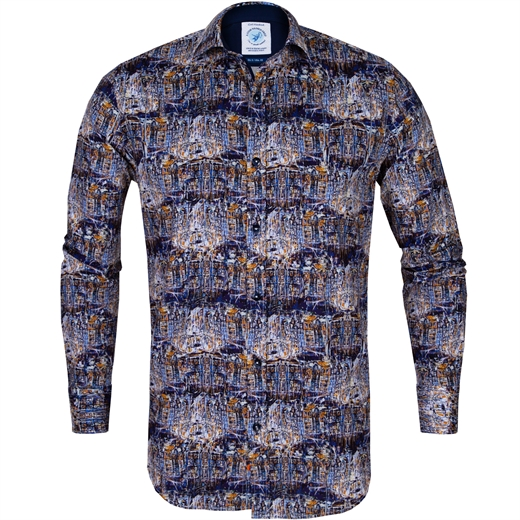 Blurred Art Canal Houses Print Stretch Cotton Shirt-new online-Fifth Avenue Menswear