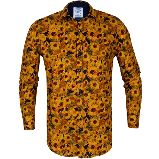 Van Gogh Sunflowers Print Stretch Cotton Shirt-new online-Fifth Avenue Menswear