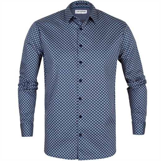 Slim Fit Geometric Lily Print Stretch Cotton Shirt-new online-Fifth Avenue Menswear