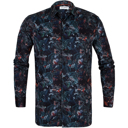 Slim Fit Digital Forest Print Stretch Cotton Shirt-new online-Fifth Avenue Menswear