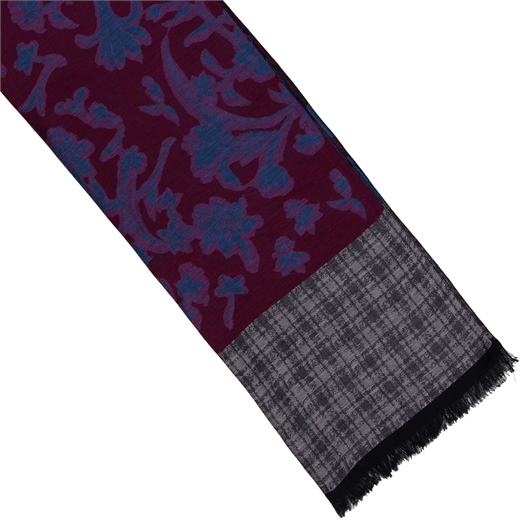 Floral & Check Cotton Blend Scarf-new online-Fifth Avenue Menswear