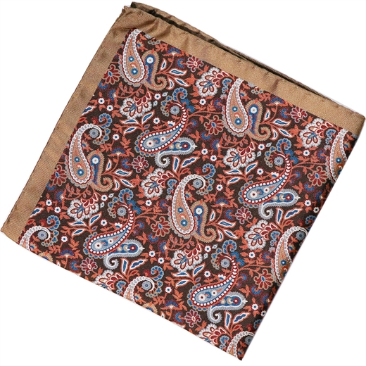 Paisley Pattern Silk Pocket Square-accessories-Fifth Avenue Menswear