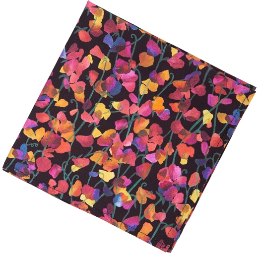 Sweet Midnight Floral Fine Cotton Pocket Square-new online-Fifth Avenue Menswear