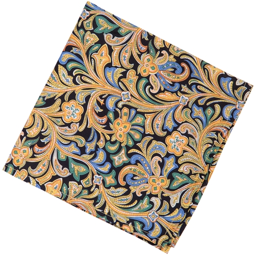 Hendrix Paisley Floral Fine Cotton Pocket Square-new online-Fifth Avenue Menswear