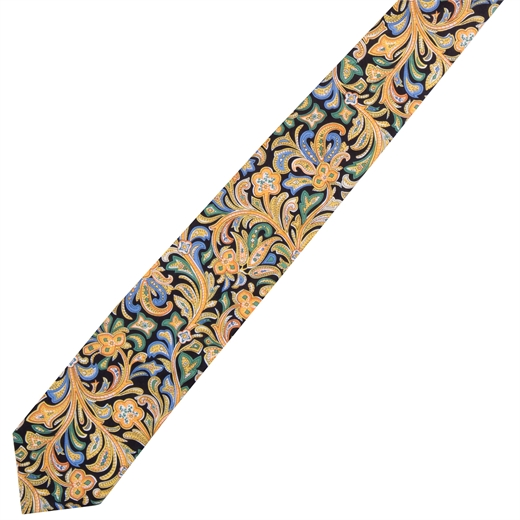 Hendrix Paisley Floral Fine Cotton Tie-new online-Fifth Avenue Menswear