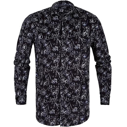 Drawn Flowers Print Casual Shirt-new online-Fifth Avenue Menswear
