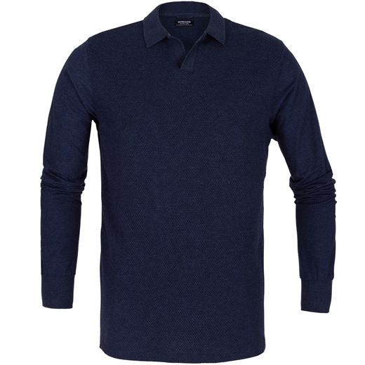 Honeycomb Jersey Long Sleeve Polo-new online-Fifth Avenue Menswear