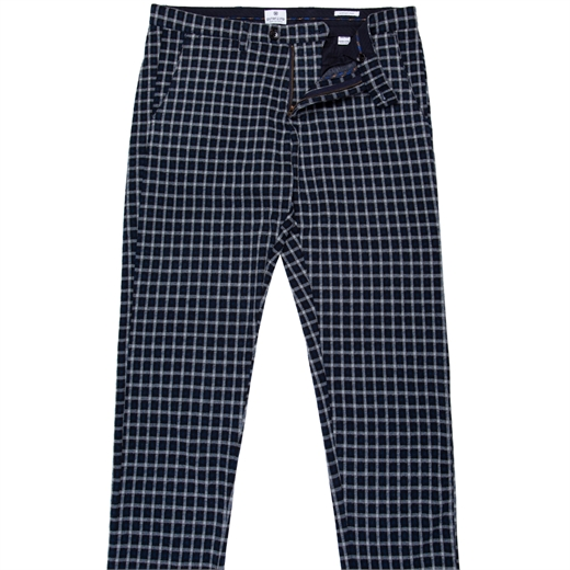 Slim Fit Delon Check Stretch Knit Casual Trousers-new online-Fifth Avenue Menswear