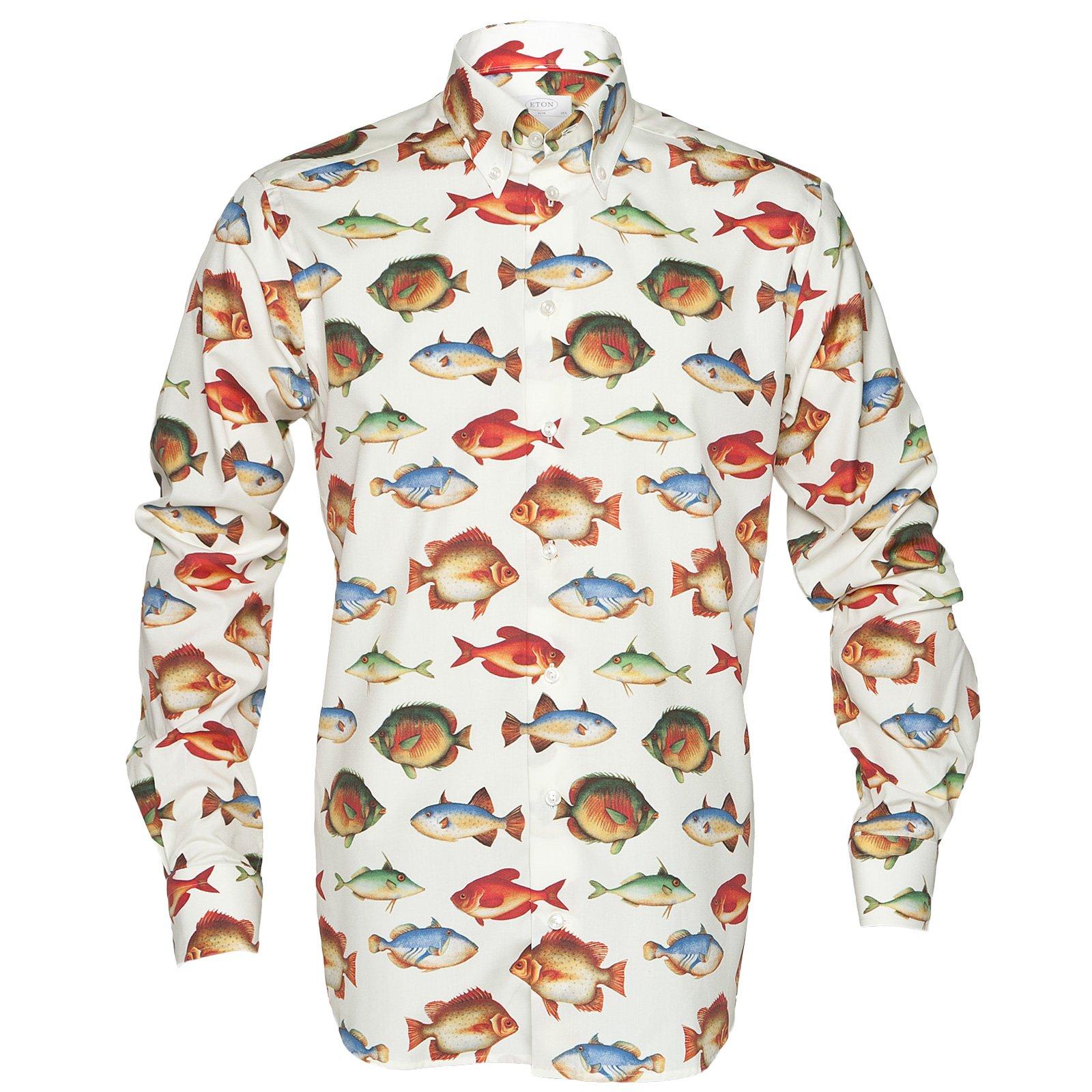 Luxury cotton fish print shirt eton 2013aw c shirts for Fish print shirt