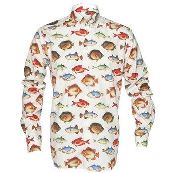 Luxury Cotton Fish Print Shirt Eton Shirts Dress