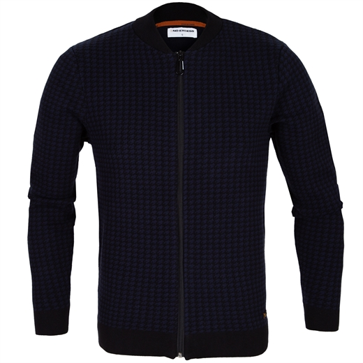 Zip-Up Houndstooth Jacquard Knit Cardigan-new online-Fifth Avenue Menswear