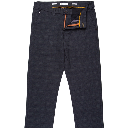 Slim Fit Stretch Cotton Check Casual Trousers-new online-Fifth Avenue Menswear