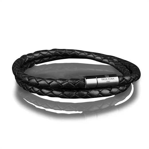 Leather Bracelet - Two Rows & Steel-accessories-Fifth Avenue Menswear